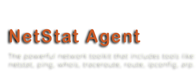 NetStat Agent 3.2 - The powerful network toolkit that includes tools like: netstat, ping, whois, traceroute, route, ipconfig, arp.